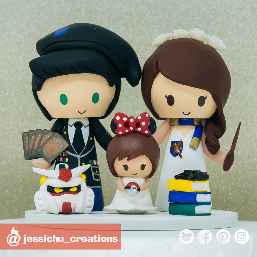 Military Groom & Harry Potter Ravenclaw Bride with Minnie Daughter | Disney x Gundam x HP | Custom Handmade Wedding Cake Topper Figurines | Jessichu Creations