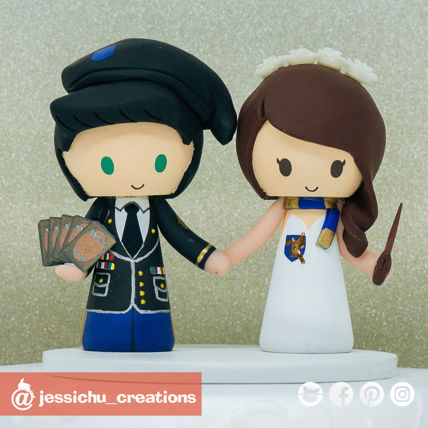 Military Groom & Harry Potter Ravenclaw Bride| Gundam x HP | Custom Handmade Wedding Cake Topper Figurines | Jessichu Creations