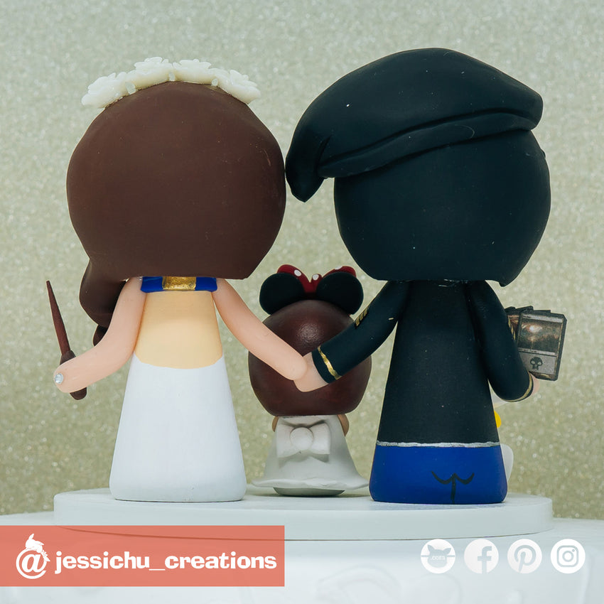 Military Groom & Harry Potter Ravenclaw Bride with Minnie Daughter Inspired Disney x Gundam x HP Wedding Cake Topper
