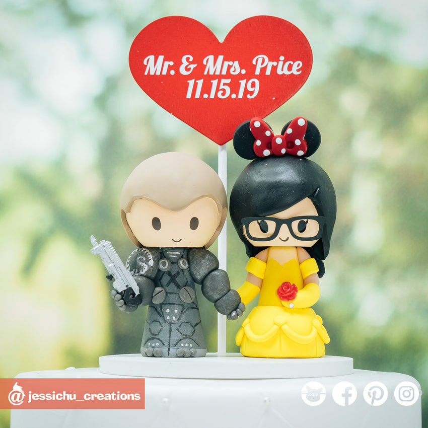 Jim Raynor & Belle | Disney x Beauty and the Beast x StarCraft | Custom Handmade Wedding Cake Topper Figurines | Jessichu Creations