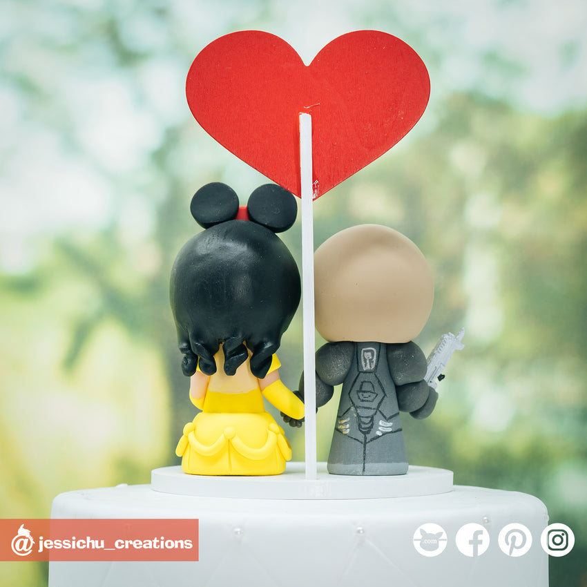 Jim Raynor Groom & Belle Bride Inspired Disney x Beauty and the Beast x StarCraft Wedding Cake Topper | Wedding Cake Toppers | Cake Topper Gallery | Jessichu Creations