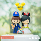 Cubs & Minnie Mouse with Dumbo | Disney x Sports x Baseball | Custom Handmade Wedding Cake Topper Figurines | Jessichu Creations
