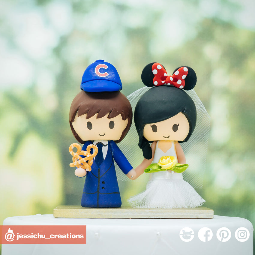 Cubs & Minnie Mouse | Disney x Sports x Baseball | Custom Handmade Wedding Cake Topper Figurines | Jessichu Creations