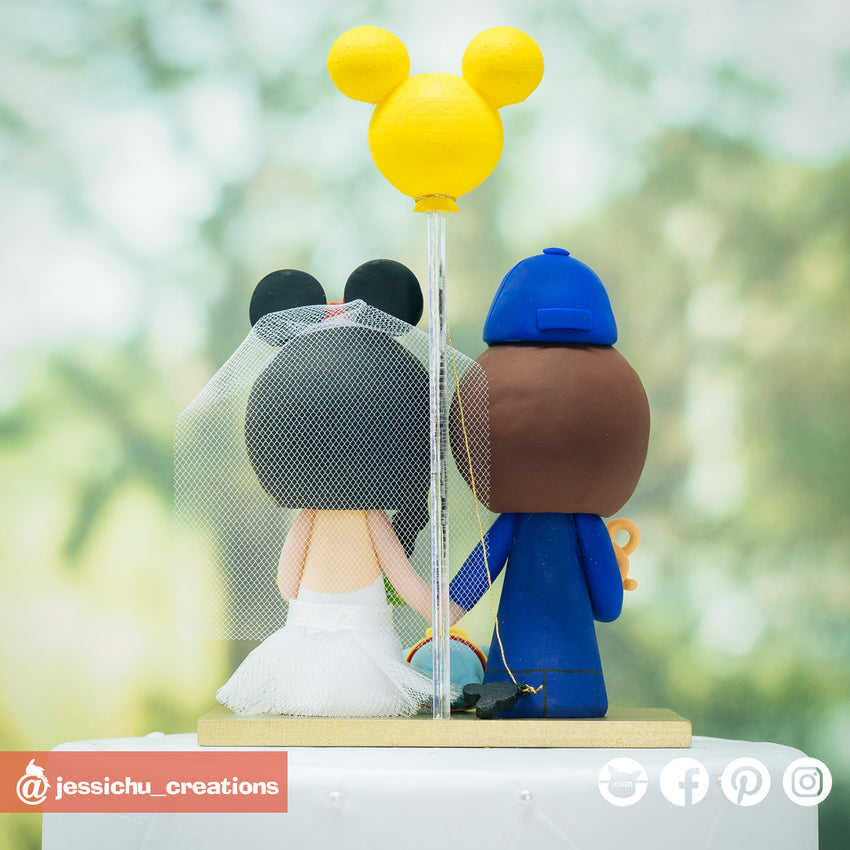 Cubs Groom & Minnie Mouse Bride with Dumbo Inspired Disney x Sports x Baseball Custom Made Figurine Wedding Cake Topper | Wedding Cake Toppers | Cake Topper Gallery | Jessichu Creations