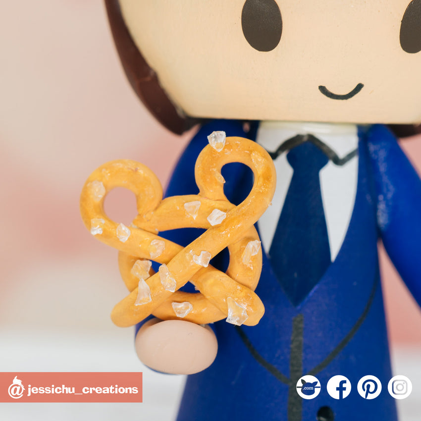 Mickey Pretzel | Disney | Custom Handmade Wedding Cake Topper Figurines | Jessichu Creations