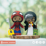 Spiderman & Harry Potter Gryffindor | Marvel x HP | Custom Handmade Wedding Cake Topper Figurines | Jessichu Creations