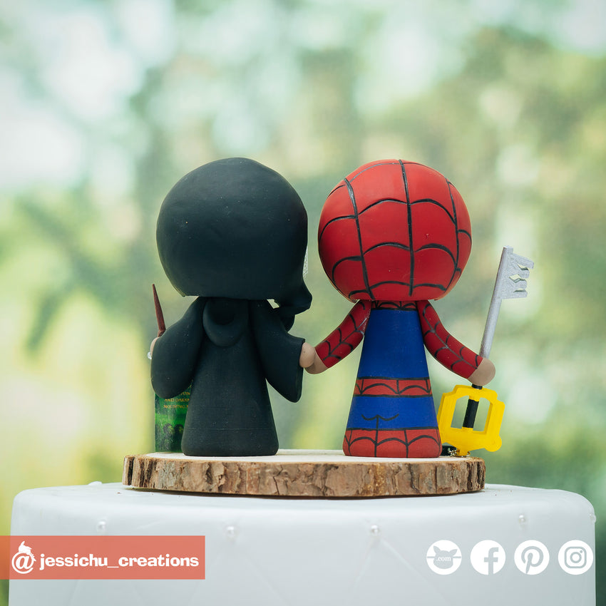 Spiderman with Keyblade & HP Gryffindor Inspired Marvel x Harry Potter Wedding Cake Topper