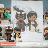 Miles Morales Spiderman Groom & HP Gryffindor Bride Inspired Marvel x Harry Potter Wedding Cake Topper