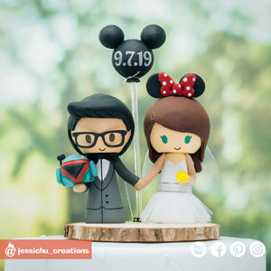 Boba Fett & Minnie Mouse | Disney x Star Wars | Custom Handmade Wedding Cake Topper Figurines | Jessichu Creations