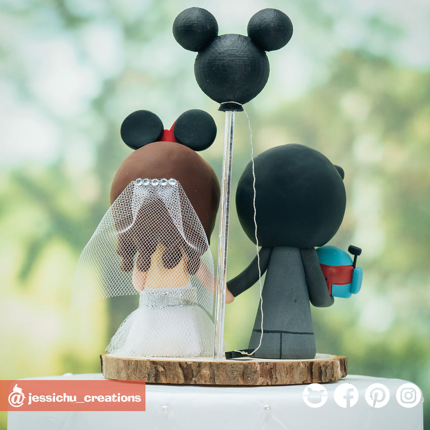 Boba Fett Groom & Minnie Mouse Bride Inspired Disney x Star Wars Wedding Cake Topper | Wedding Cake Toppers | Cake Topper Gallery | Jessichu Creations