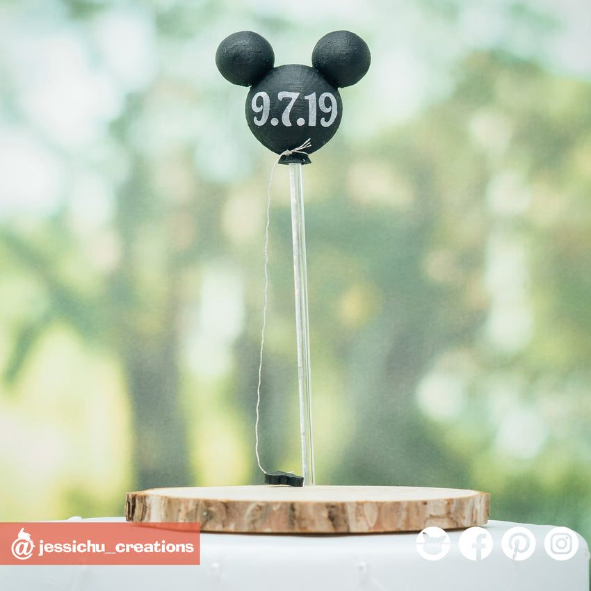 Mickey Balloon| Disney | Custom Handmade Wedding Cake Topper Figurines | Jessichu Creations