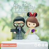Gamer and Minnie Mouse| Disney | Custom Handmade Wedding Cake Topper Figurines | Jessichu Creations