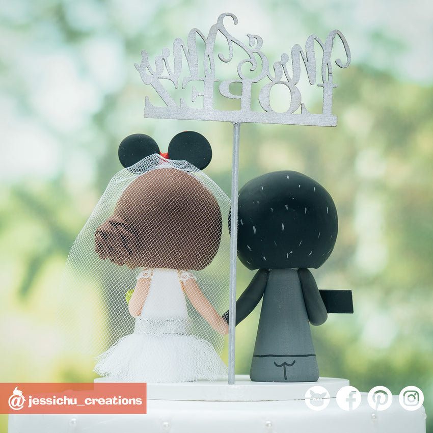 Gamer Groom & Disney Minnie Mouse Bride Custom Handmade Wedding Cake Topper | Wedding Cake Toppers | Cake Topper Gallery | Jessichu Creations