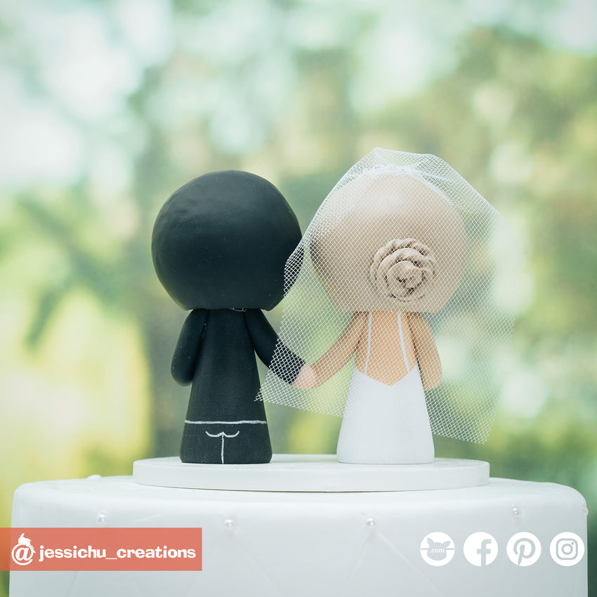 Cute Bride & Groom Custom Handmade Wedding Cake Topper Figurines | Wedding Cake Toppers | Cake Topper Gallery | Jessichu Creations