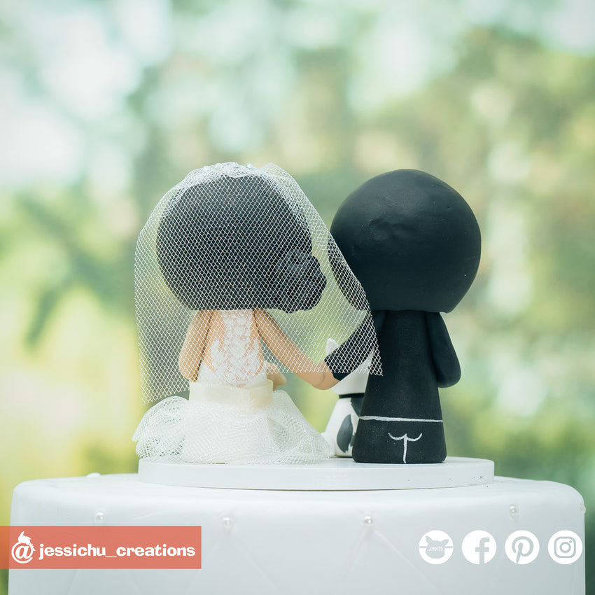 Cute Bride & Groom with Pet Dogs Custom Handmade Wedding Cake Topper Figurines | Wedding Cake Toppers | Cake Topper Gallery | Jessichu Creations