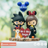 Goku & HP Hufflepuff Minnie Mouse  | Dragon Ball Z x Harry Potter x Disney | Custom Handmade Wedding Cake Topper Figurines | Jessichu Creations