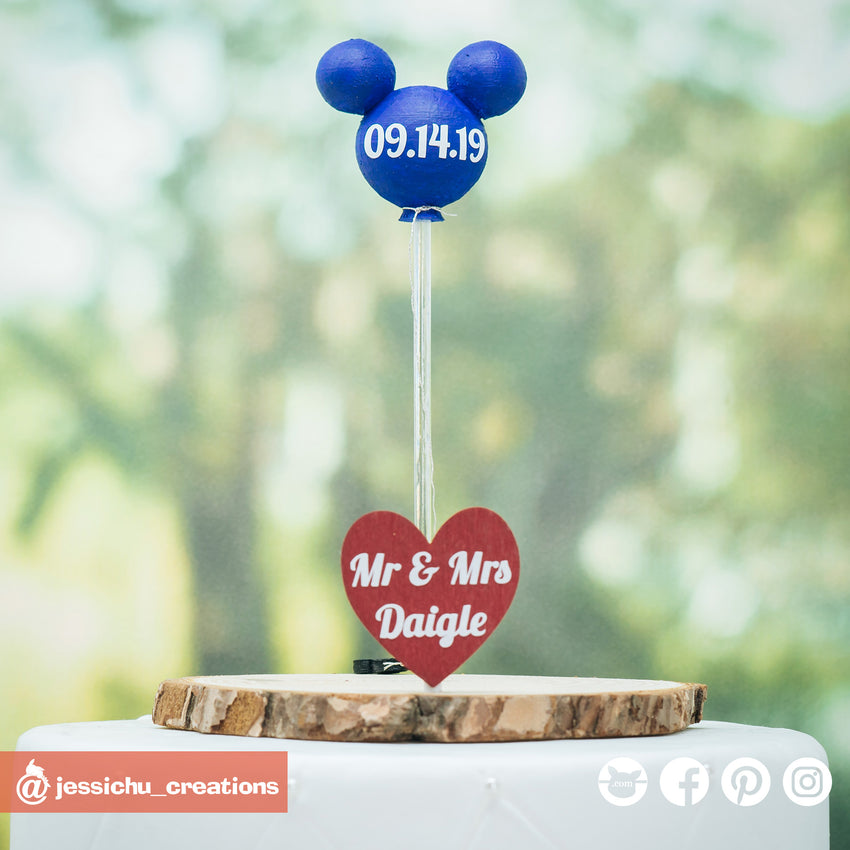 Mickey Disney Balloon & Heart Sign | Signs | Custom Handmade Wedding Cake Topper Figurines | Jessichu Creations