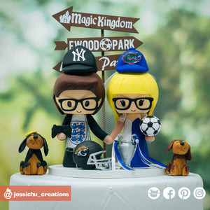 Sports Couple with Pet Cocker Spaniels | NY Yankees x Florida Gators x Blackburn Rovers x Jacksonville Jaguars x Englands | Football x Soccer x Baseball  | Custom Handmade Wedding Cake Topper Figurines | Jessichu Creations