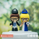Sports Couple | NY Yankees x Florida Gators x Blackburn Rovers x Jacksonville Jaguars x Englands | Football x Soccer x Baseball  | Custom Handmade Wedding Cake Topper Figurines | Jessichu Creations