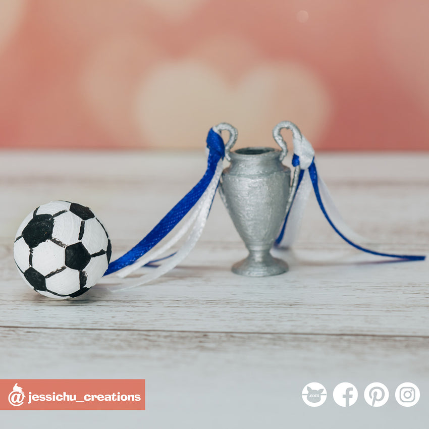 Soccer ball and trophy | Custom Handmade Wedding Cake Topper Figurines | Jessichu Creations