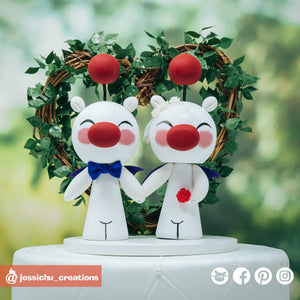Moogle | Kingdom Hearts x Final Fantasy | Custom Handmade Wedding Cake Topper Figurines | Jessichu Creations