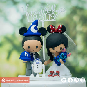 Wizard Mickey & Minnie Mouse with Stitch & R2D2 | Disney x Star Wars | Custom Handmade Wedding Cake Topper Figurines | Jessichu Creations