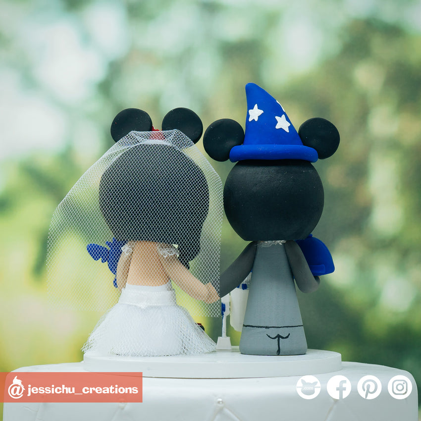 Wizard Mickey Groom & Minnie Mouse Bride with Stitch & R2D2 Inspired Disney x Star Wars Wedding Cake Topper