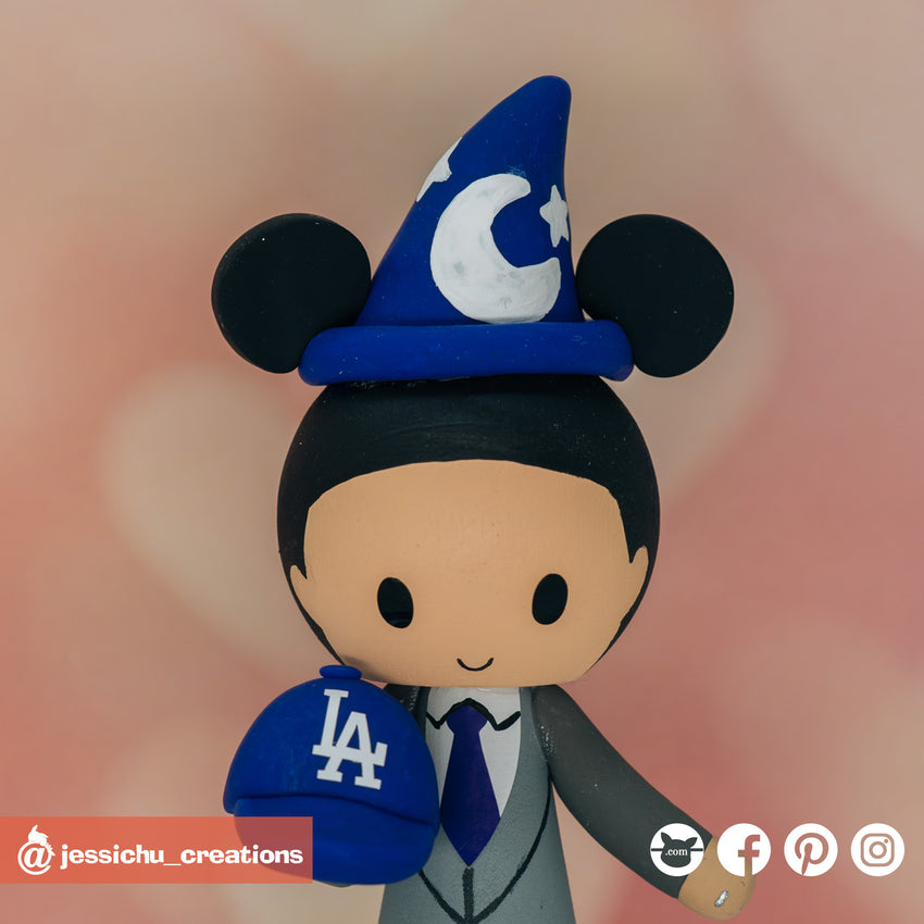 Wizard Mickey with Dodgers Hat | Disney | Custom Handmade Wedding Cake Topper Figurines | Jessichu Creations