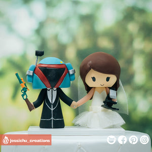 Boba Fett & Scientist | Star Wars | Custom Handmade Wedding Cake Topper Figurines | Jessichu Creations