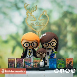 Harry Potter Family | Hufflepuff x Ravenclaw x Gryffindor | Custom Handmade Wedding Cake Topper Figurines | Jessichu Creations