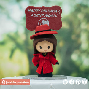 Carmen Sandiego | Custom Handmade Birthday Cake Topper Figurines | Jessichu Creations
