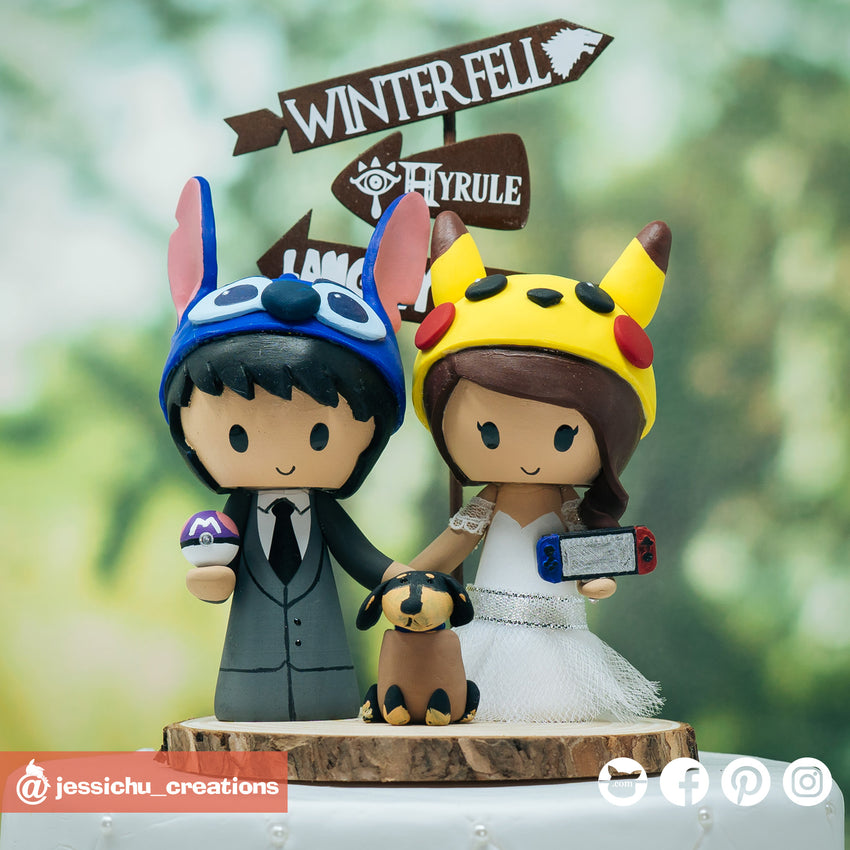 Stitch & Pikachu with Hot Dog Dachshund | Disney x Nintendo Pokemon | Custom Handmade Wedding Cake Topper Figurines | Jessichu Creations