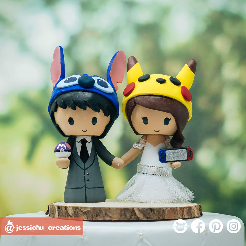 Stitch & Pikachu | Disney x Nintendo Pokemon | Custom Handmade Wedding Cake Topper Figurines | Jessichu Creations