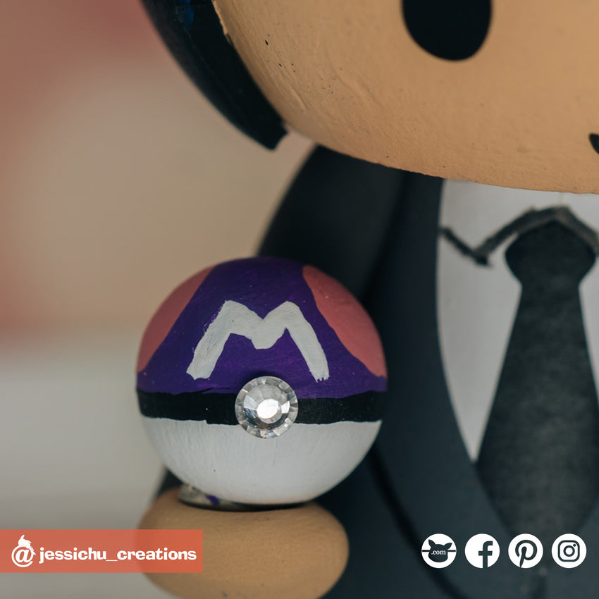 Pokemon Masterball | Accessories | Custom Handmade Wedding Cake Topper Figurines | Jessichu Creations