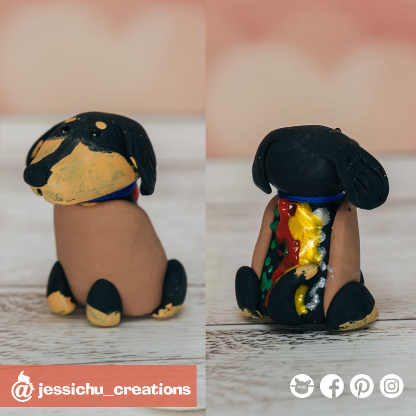 Hot Dog Dachshund | Pets | Custom Handmade Wedding Cake Topper Figurines | Jessichu Creations