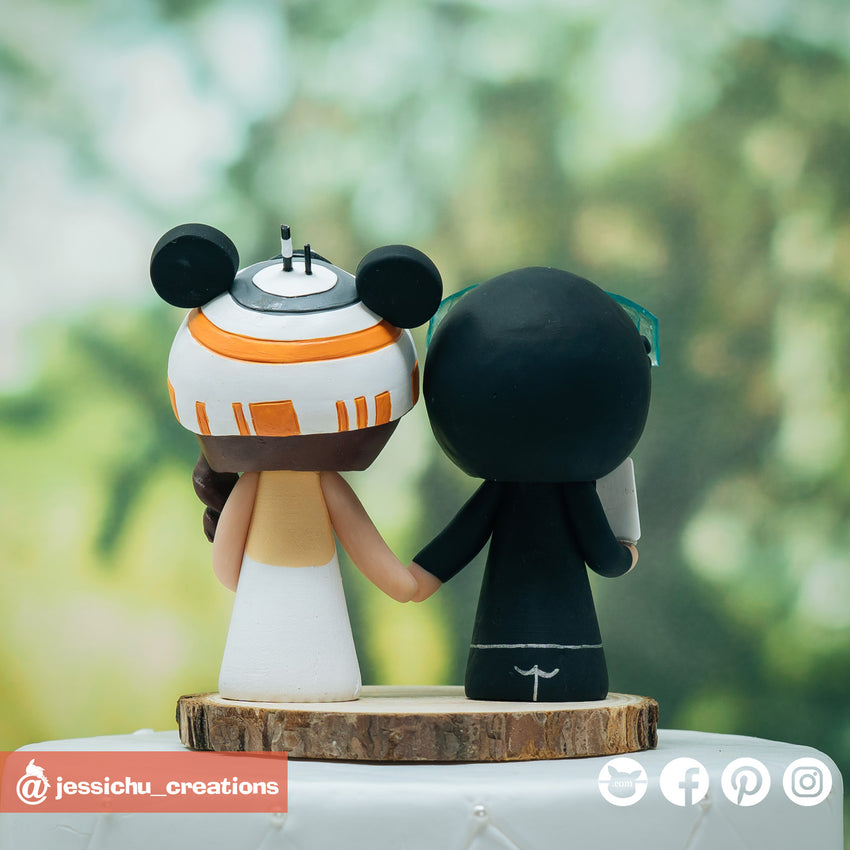 Nascar Racer Groom & Mickey BB8 Bride | Disney x Star Wars | Custom Handmade Wedding Cake Topper Figurines | Jessichu Creations
