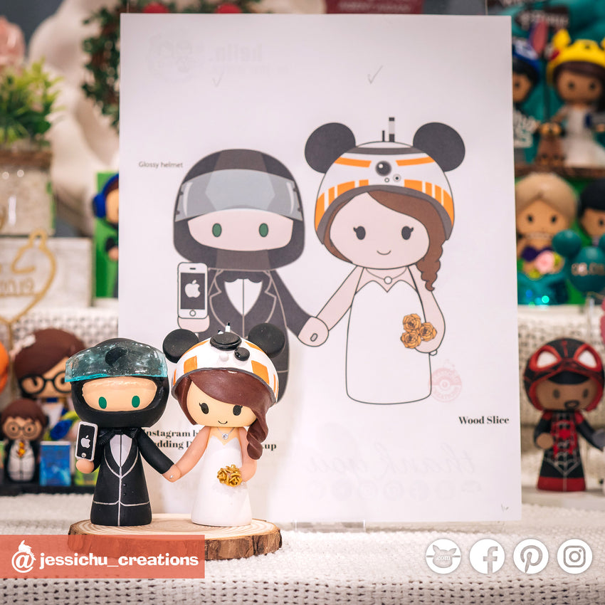 Nascar Racer & Mickey BB8 | Disney x Star Wars | Custom Handmade Wedding Cake Topper Figurines | Jessichu Creations