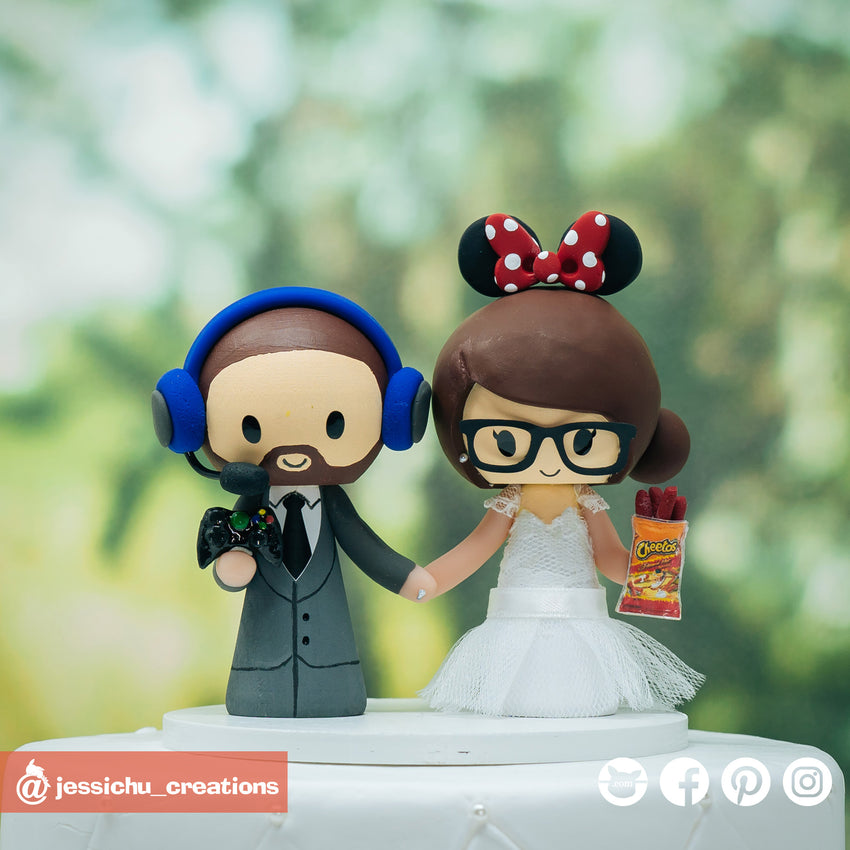 Gamer and Minnie Mouse | Disney | Custom Handmade Wedding Cake Topper Figurines | Jessichu Creations