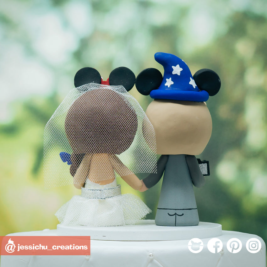 Wizard Mickey Groom & Minnie Mouse Bride with Stitch & DSLR - Disney Inspired Wedding Cake Topper | Wedding Cake Toppers | Cake Topper Gallery | Jessichu Creations