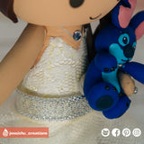 Wizard Mickey Groom & Minnie Mouse Bride with Stitch & DSLR - Disney Inspired Wedding Cake Topper