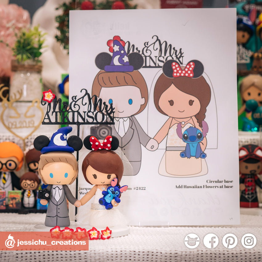 Wizard Mickey & Minnie Mouse | Stitch & DSLR | Disney | Custom Handmade Wedding Cake Topper Figurines | Jessichu Creations