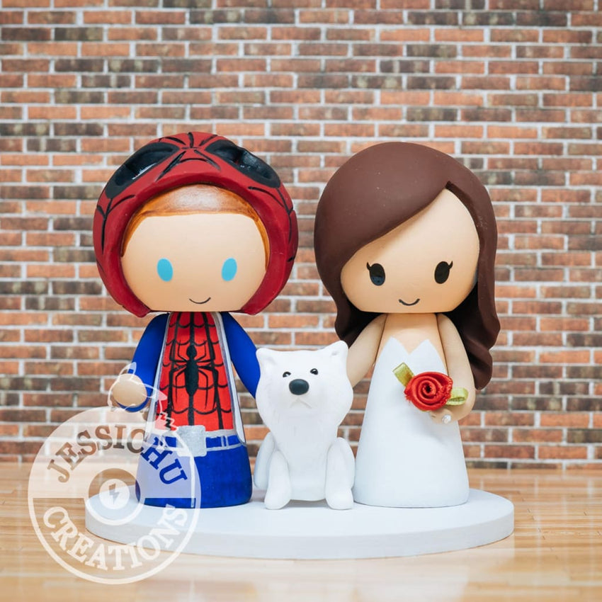Spiderman and Pretty Bride Wedding Cake Topper | Marvel | Jessichu Creations