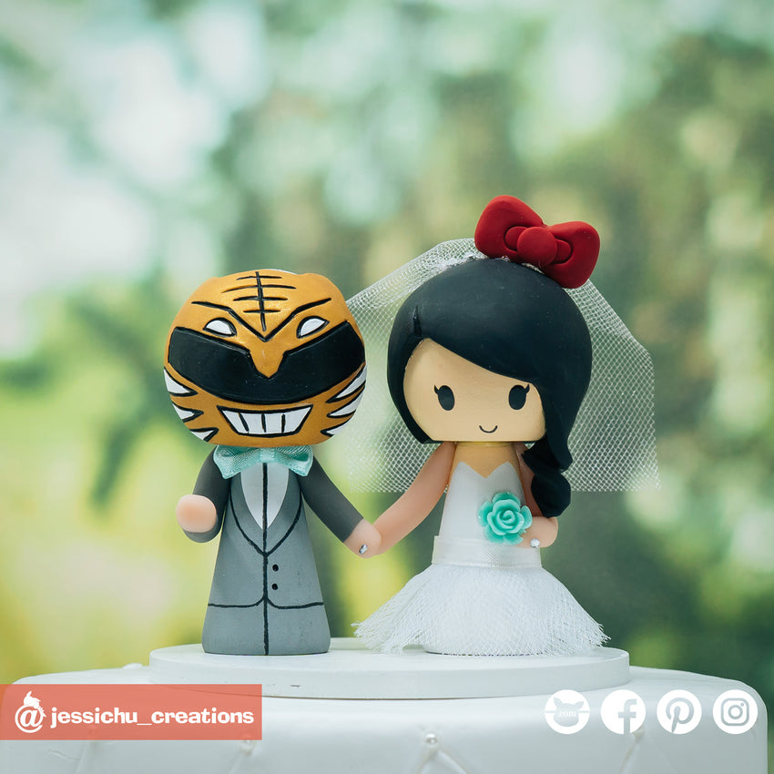White Ranger & Hello Kitty | Power Rangers x Sanrio | Custom Handmade Wedding Cake Topper Figurines | Jessichu Creations