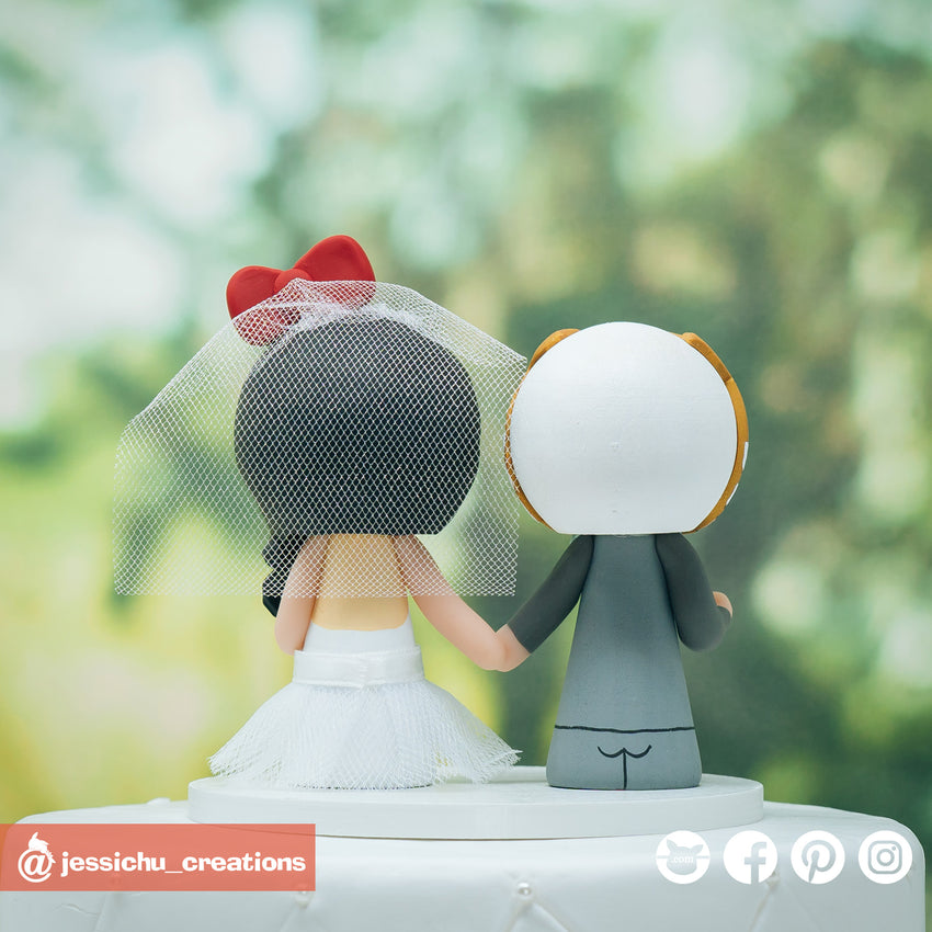 White Ranger Groom & Hello Kitty Bride Inspired Power Rangers x Sanrio Wedding Cake Topper | Wedding Cake Toppers | Cake Topper Gallery | Jessichu Creations