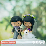 Cute Couple with Pet Dogs | Custom Handmade Wedding Cake Topper Figurines | Jessichu Creations