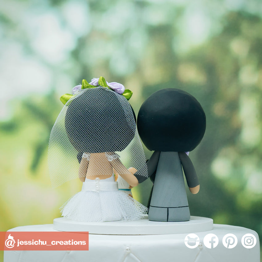 Cute Bride & Groom with Pet Dogs Custom Handmade Figurine Wedding Cake Topper | Wedding Cake Toppers | Cake Topper Gallery | Jessichu Creations