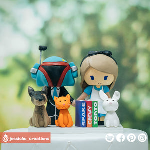 Boba Fett & Alice in Wonderland with Pets | Disney x Star Wars | Custom Handmade Wedding Cake Topper Figurines | Jessichu Creations