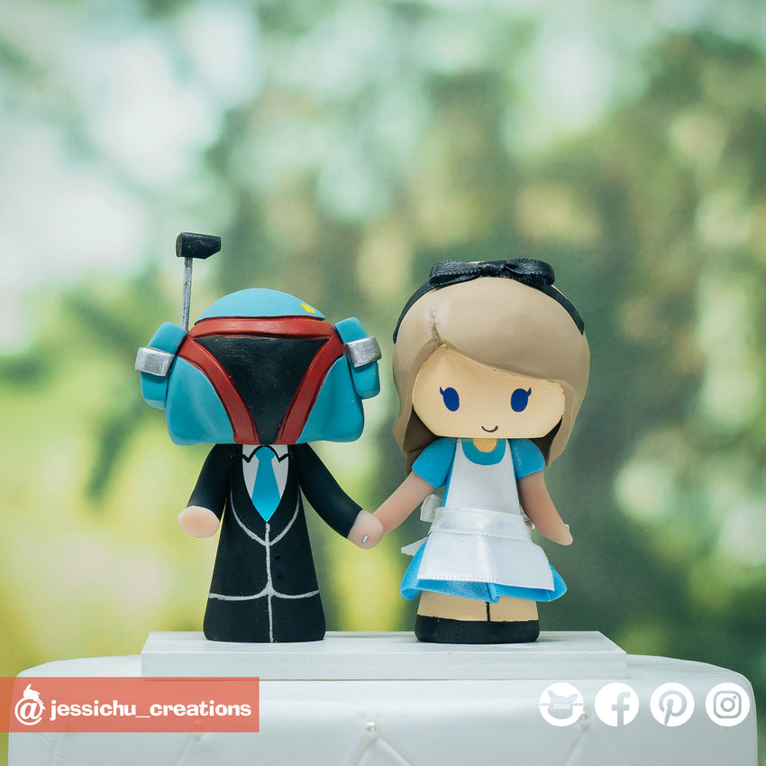 Boba Fett & Alice in Wonderland | Disney x Star Wars | Custom Handmade Wedding Cake Topper Figurines | Jessichu Creations