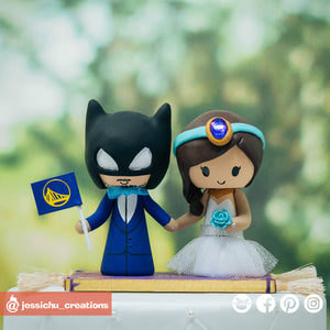 Batman & Jasmine on Magic Carpet | Disney x Aladdin x DC | Custom Handmade Wedding Cake Topper Figurines | Jessichu Creations