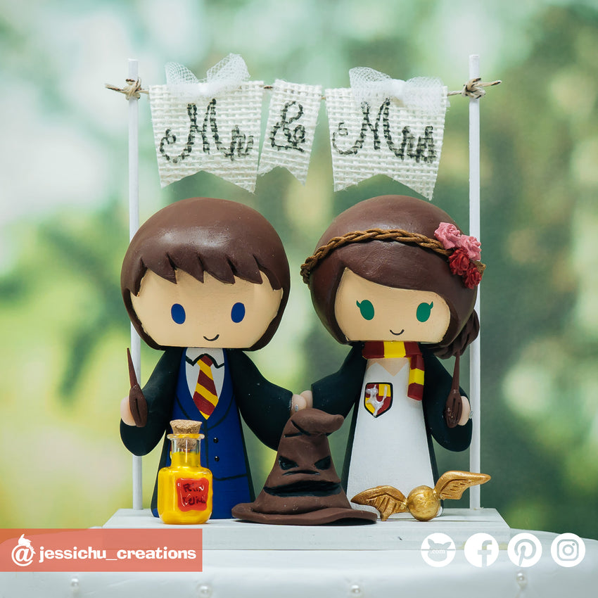 Harry Potter Gryffindor Couple with HP Accessories | Felix Felicis Potion Bottle, Sorting Hat, Golden Snitch | Custom Handmade Wedding Cake Topper Figurines | Jessichu Creations